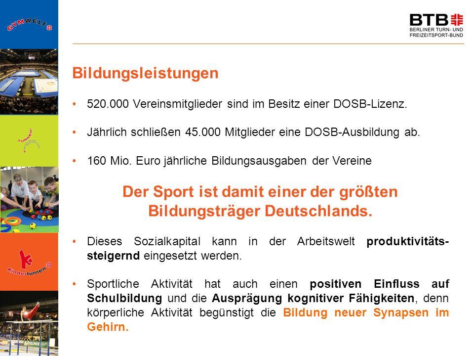 Der Sport ist damit einer der größten Bildungsträger Deutschlands.