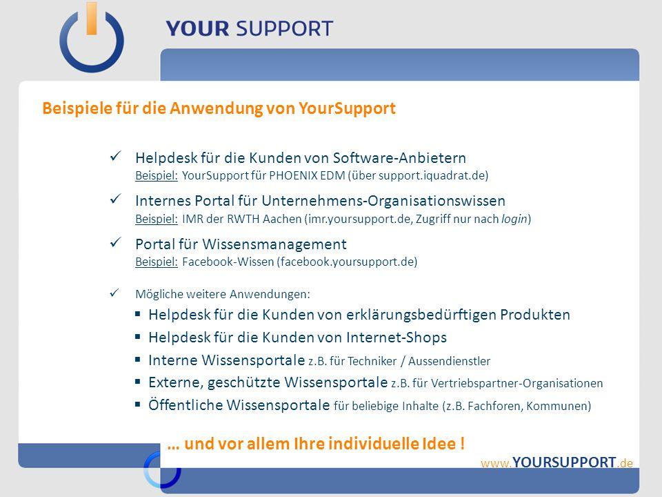 Beispiele für die Anwendung von YourSupport