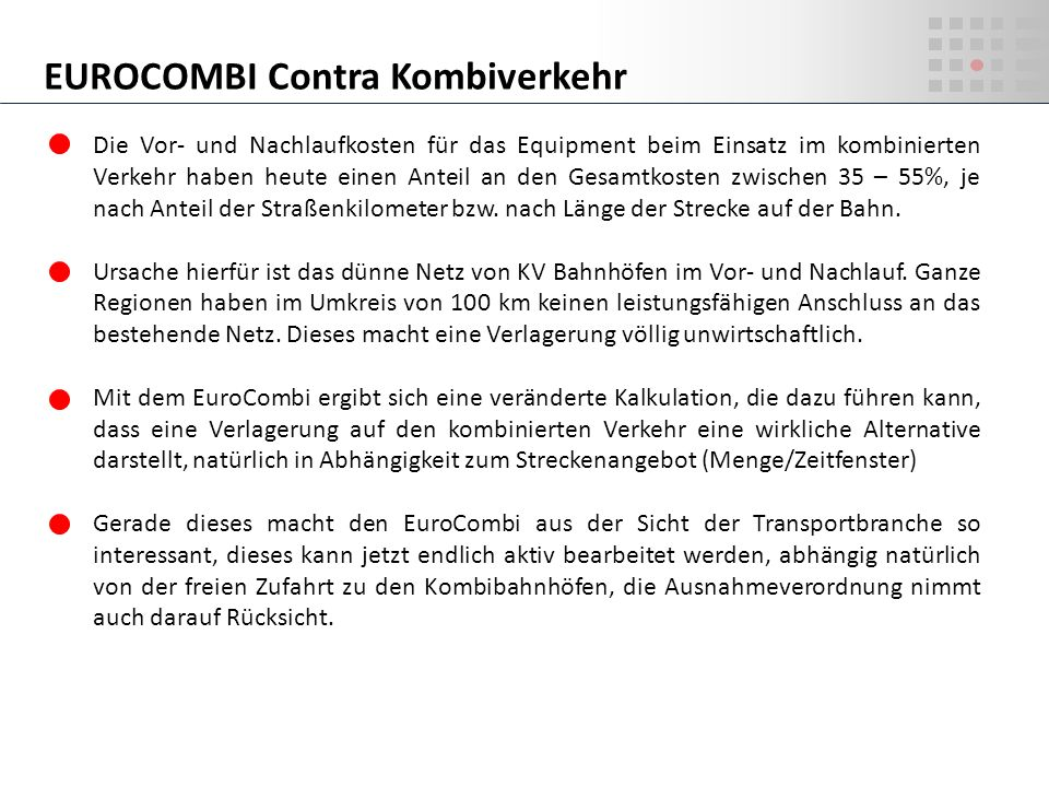EUROCOMBI Contra Kombiverkehr