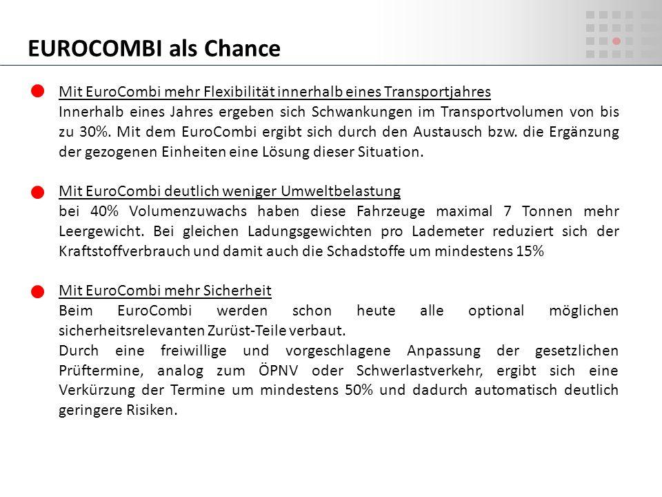EUROCOMBI als Chance Mit EuroCombi mehr Flexibilität innerhalb eines Transportjahres.