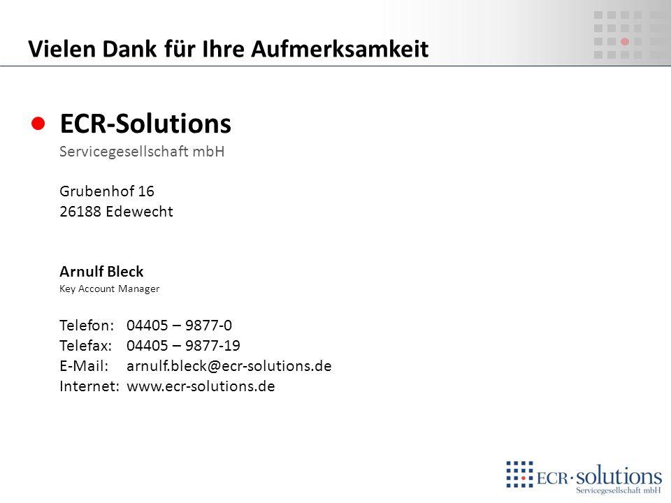ECR-Solutions Vielen Dank für Ihre Aufmerksamkeit