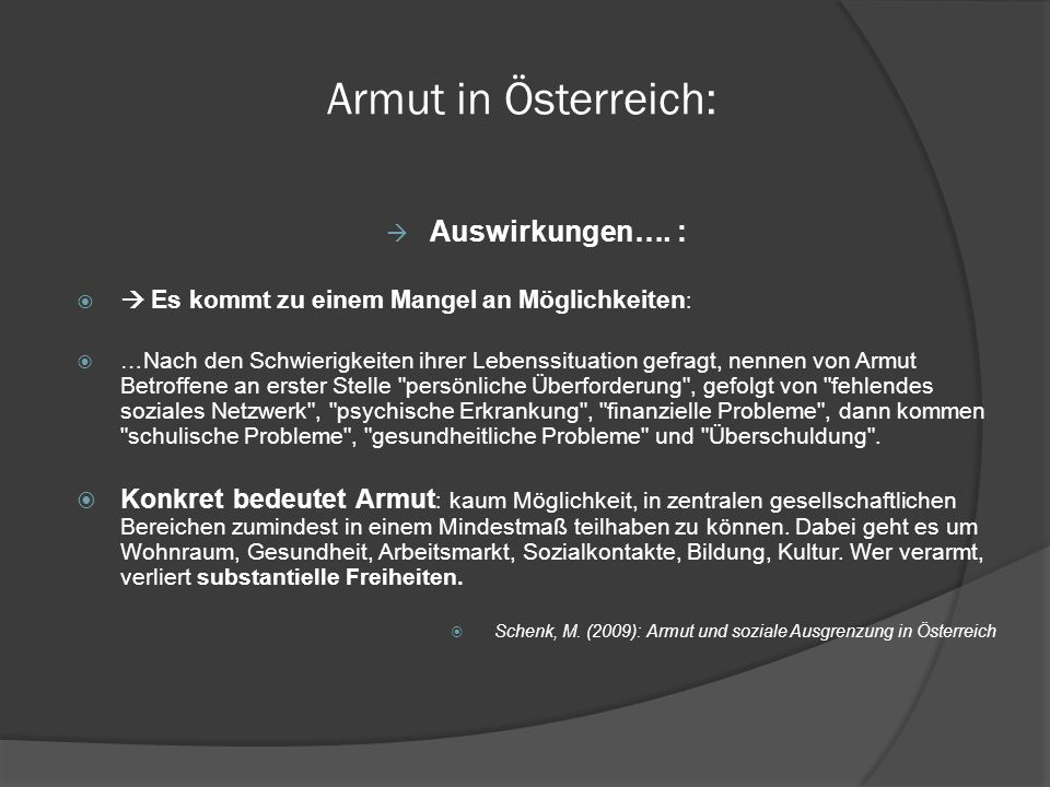 Armut in Österreich: Auswirkungen…. :