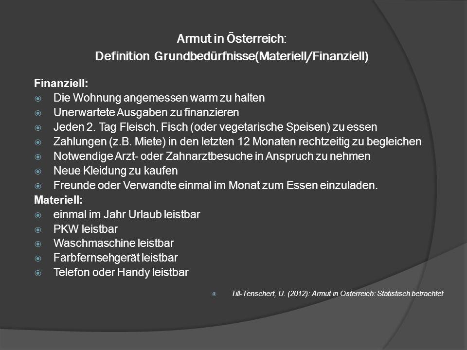 Armut in Österreich: Definition Grundbedürfnisse(Materiell/Finanziell)