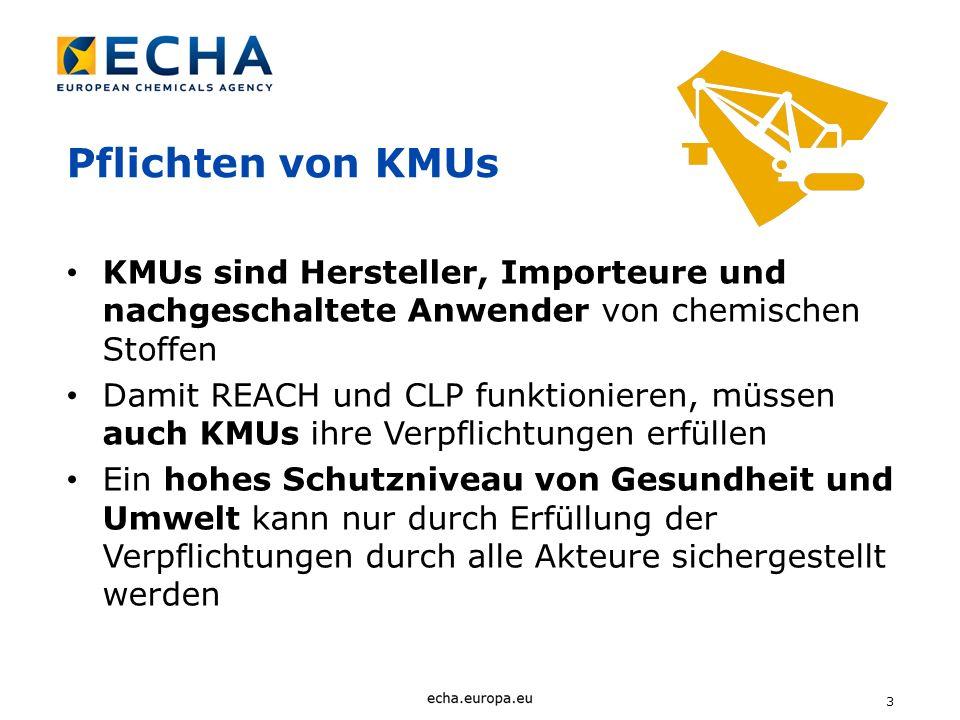 Pflichten von KMUs KMUs sind Hersteller, Importeure und nachgeschaltete Anwender von chemischen Stoffen.