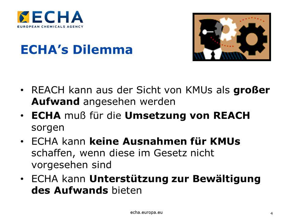 ECHA's Dilemma REACH kann aus der Sicht von KMUs als großer Aufwand angesehen werden. ECHA muß für die Umsetzung von REACH sorgen.
