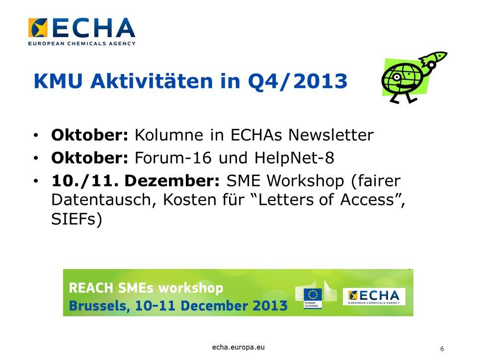 KMU Aktivitäten in Q4/2013 Oktober: Kolumne in ECHAs Newsletter