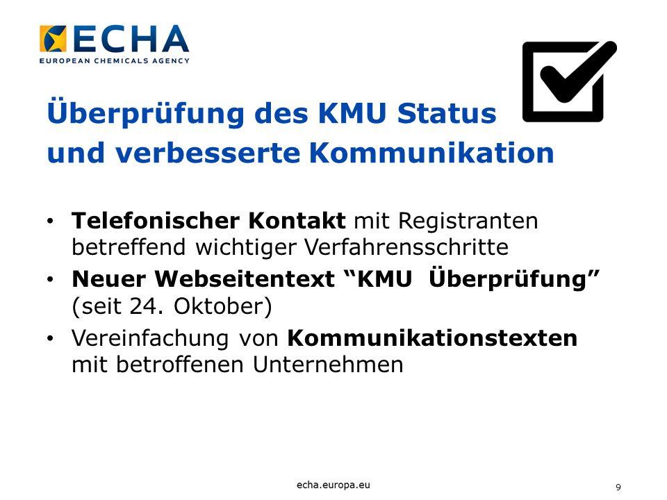 Überprüfung des KMU Status und verbesserte Kommunikation