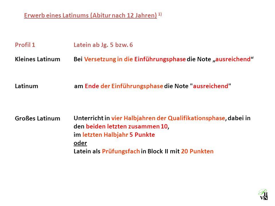 Erwerb eines Latinums (Abitur nach 12 Jahren) 1)