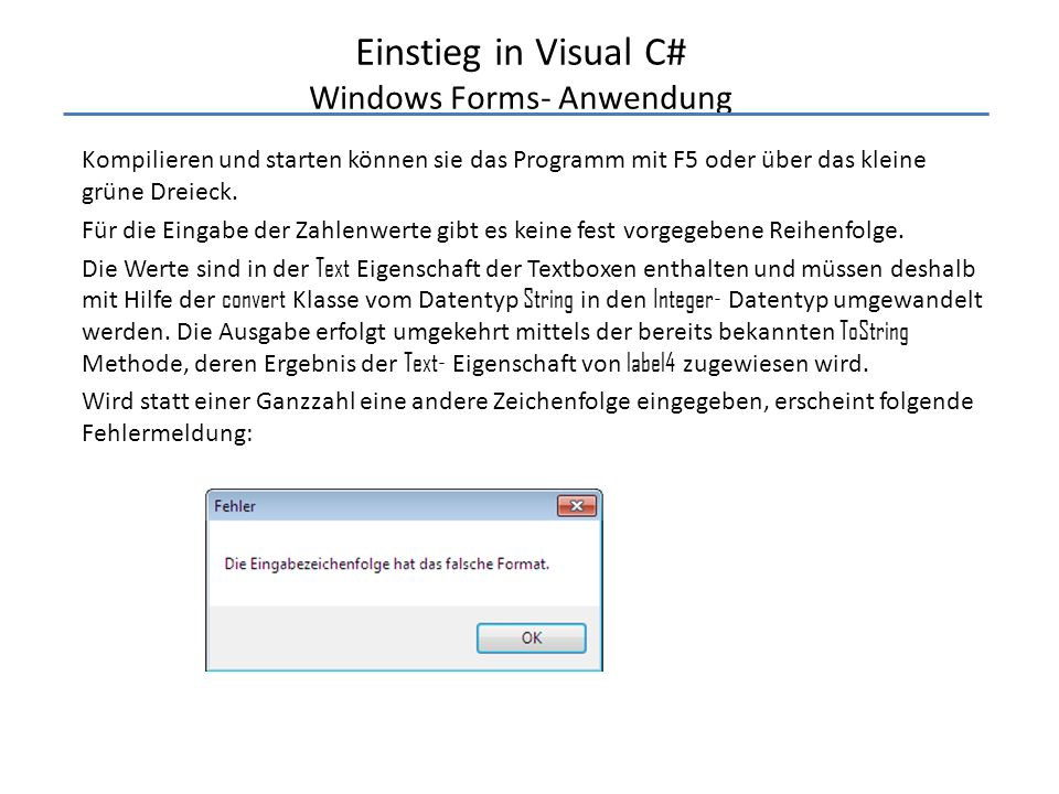 Einstieg in Visual C# Windows Forms- Anwendung