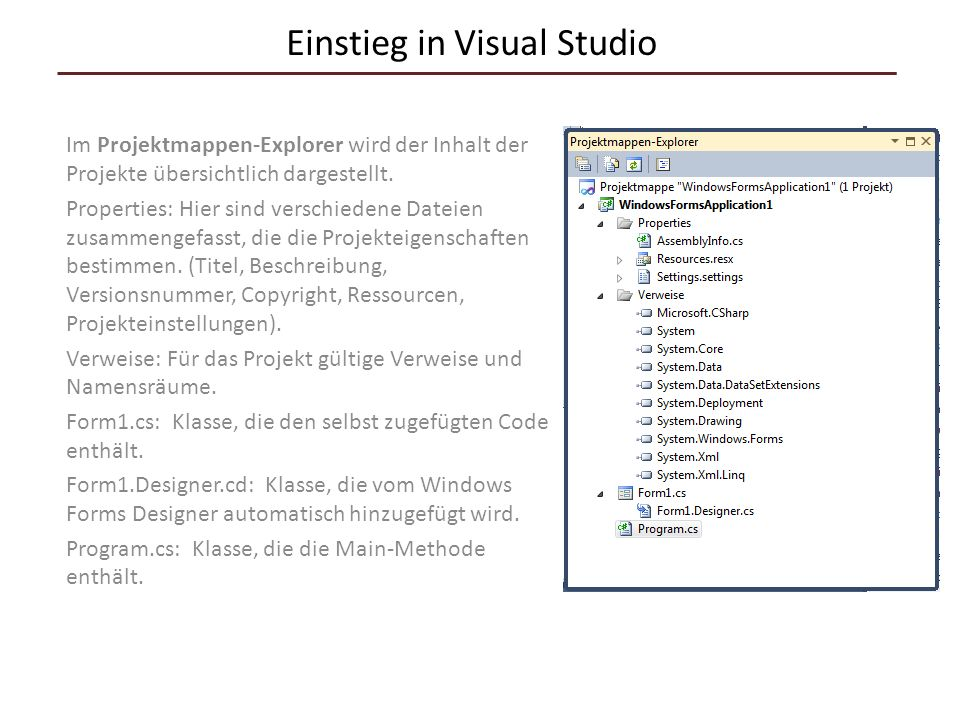 Einstieg in Visual Studio