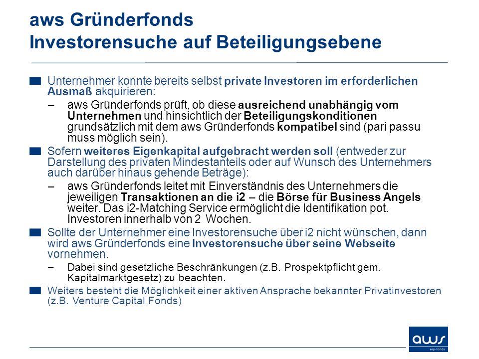 aws Gründerfonds Investorensuche auf Beteiligungsebene