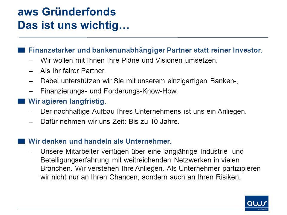 aws Gründerfonds Das ist uns wichtig…