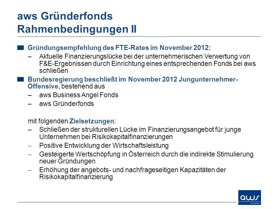 aws Gründerfonds Rahmenbedingungen II