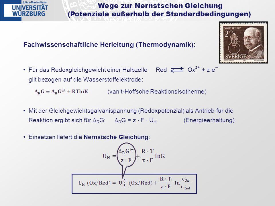 Wege zur Nernstschen Gleichung