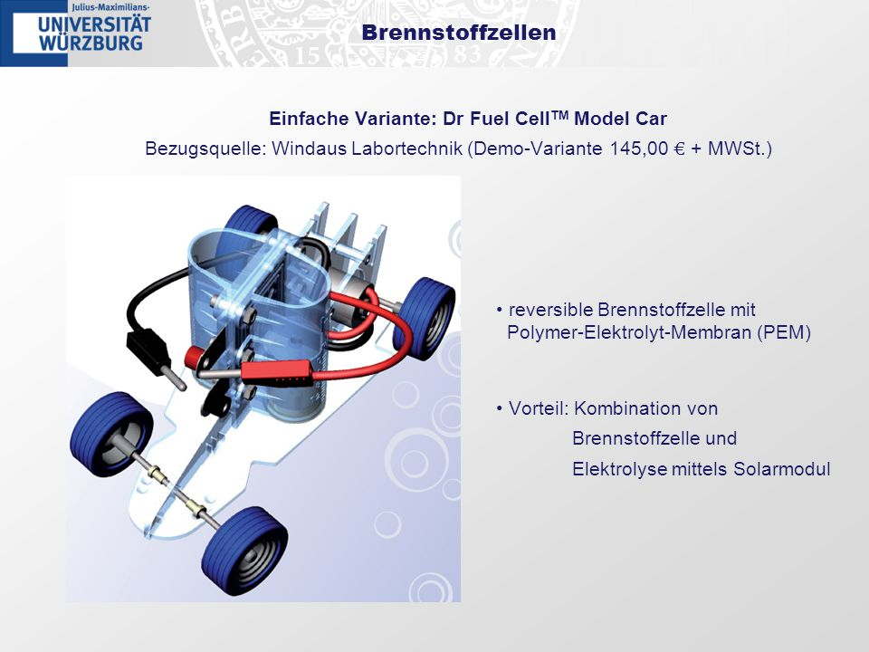 Einfache Variante: Dr Fuel CellTM Model Car