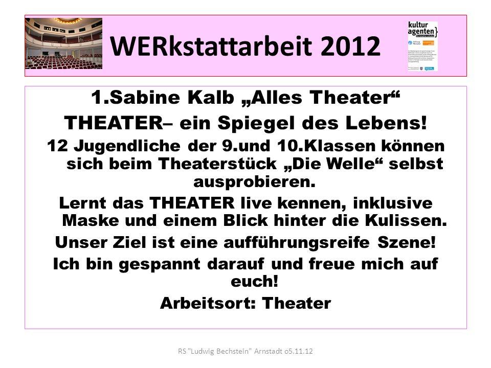 """WERkstattarbeit 2012 1.Sabine Kalb """"Alles Theater"""