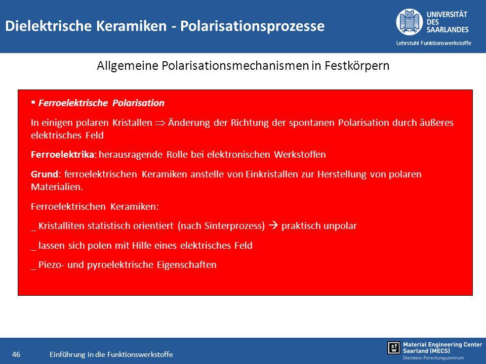 Allgemeine Polarisationsmechanismen in Festkörpern