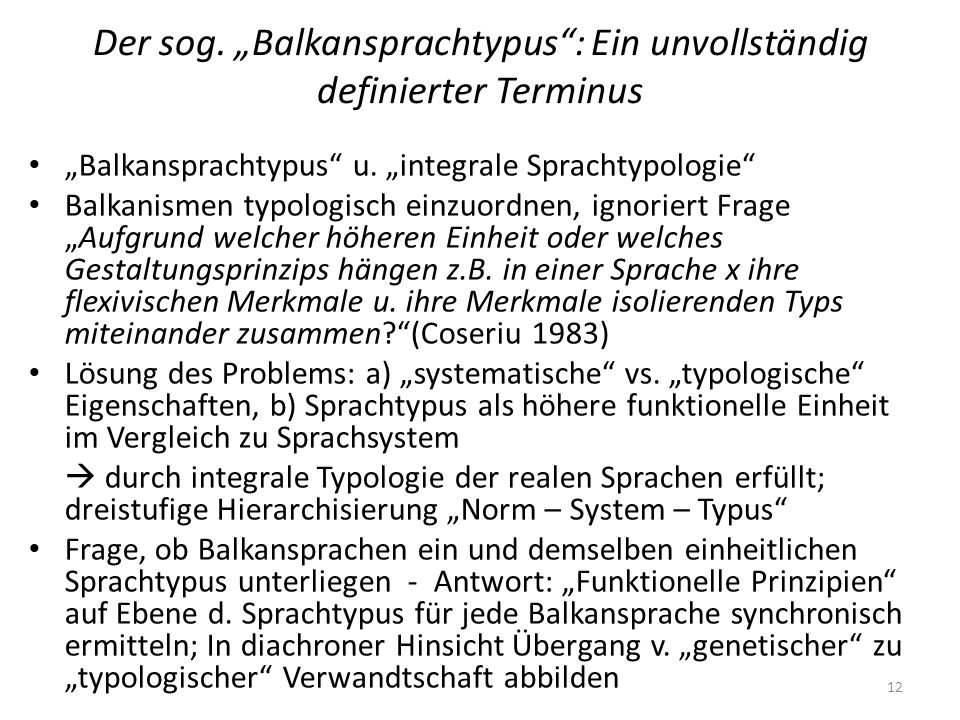 """Der sog. """"Balkansprachtypus : Ein unvollständig definierter Terminus"""