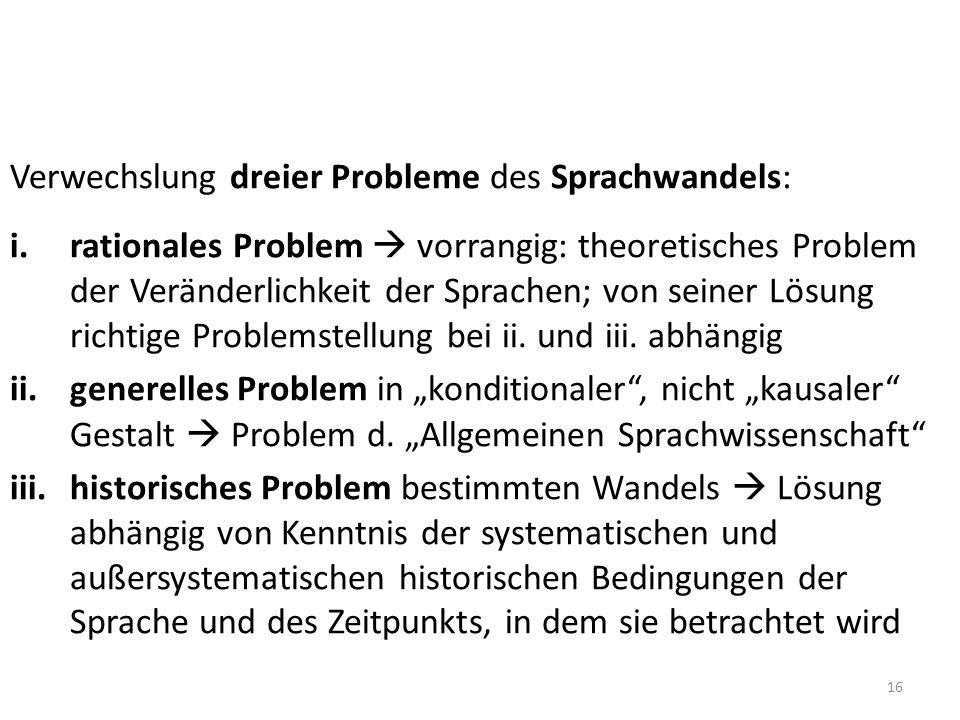 Verwechslung dreier Probleme des Sprachwandels: