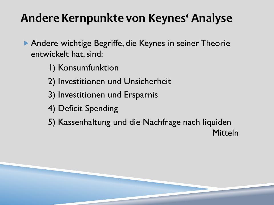 Andere Kernpunkte von Keynes' Analyse