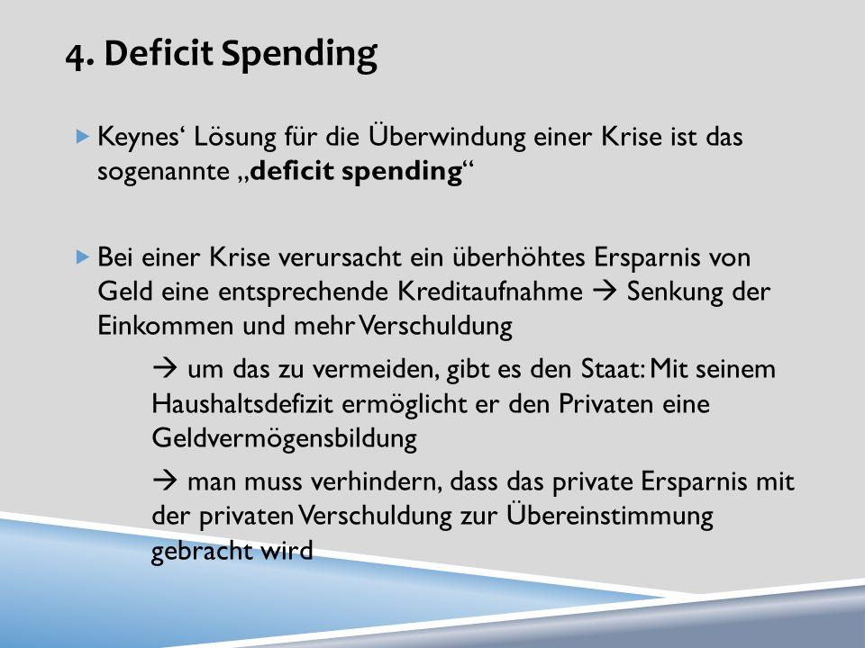 """4. Deficit Spending Keynes' Lösung für die Überwindung einer Krise ist das sogenannte """"deficit spending"""