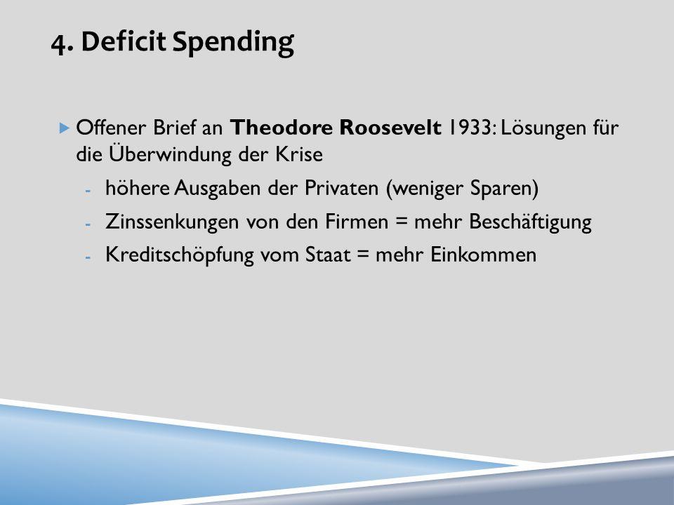 4. Deficit Spending Offener Brief an Theodore Roosevelt 1933: Lösungen für die Überwindung der Krise.