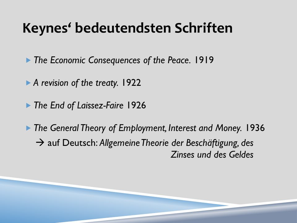 Keynes' bedeutendsten Schriften