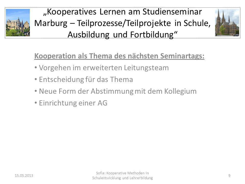 Sofia: Kooperative Methoden in Schulentwicklung und Lehrerbildung