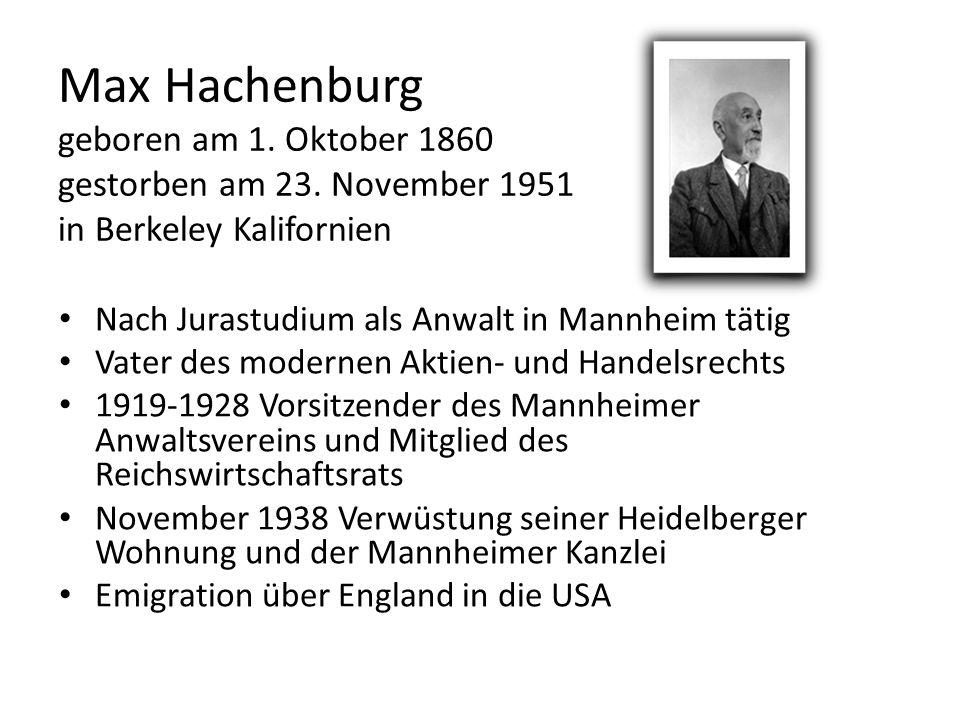 Max Hachenburg geboren am 1. Oktober 1860 gestorben am 23