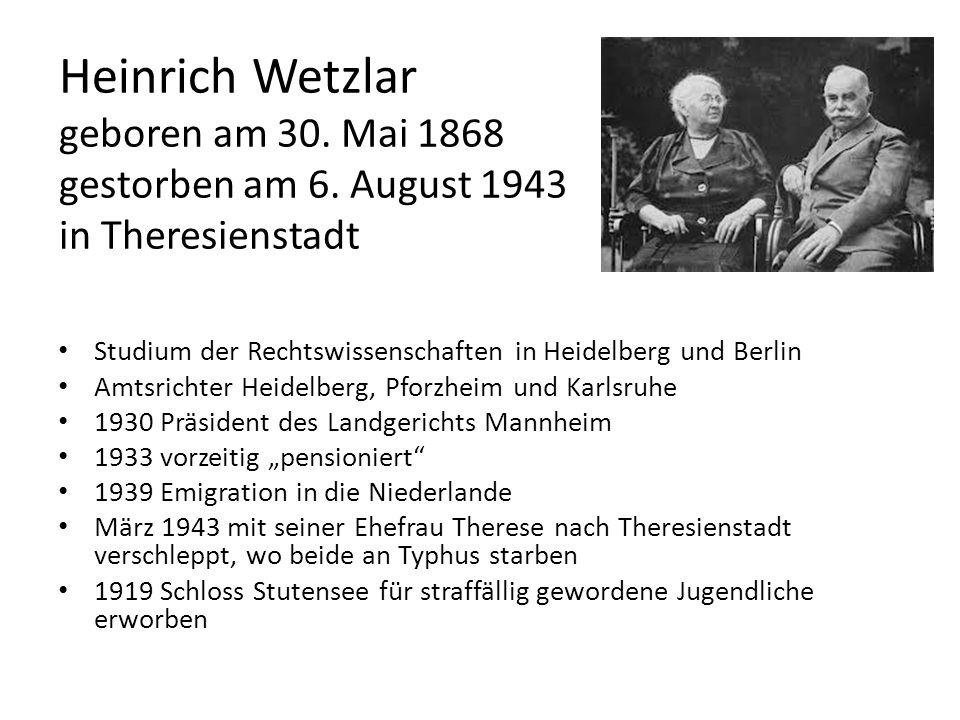 Heinrich Wetzlar geboren am 30. Mai 1868 gestorben am 6