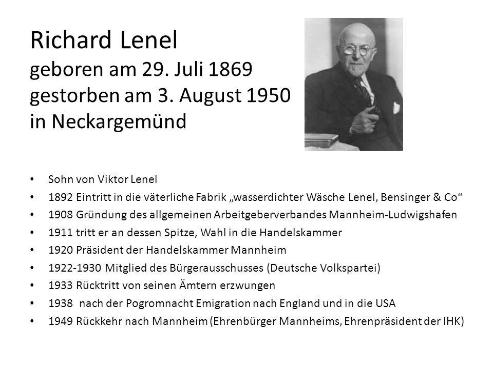Richard Lenel geboren am 29. Juli 1869 gestorben am 3