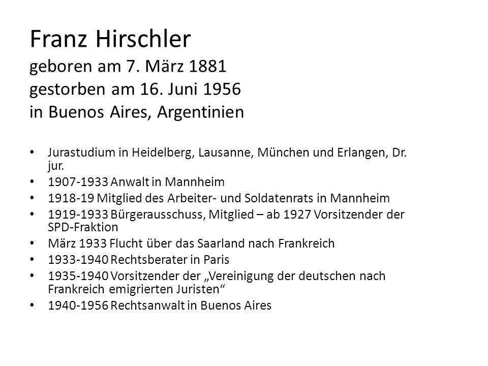 Franz Hirschler geboren am 7. März 1881 gestorben am 16
