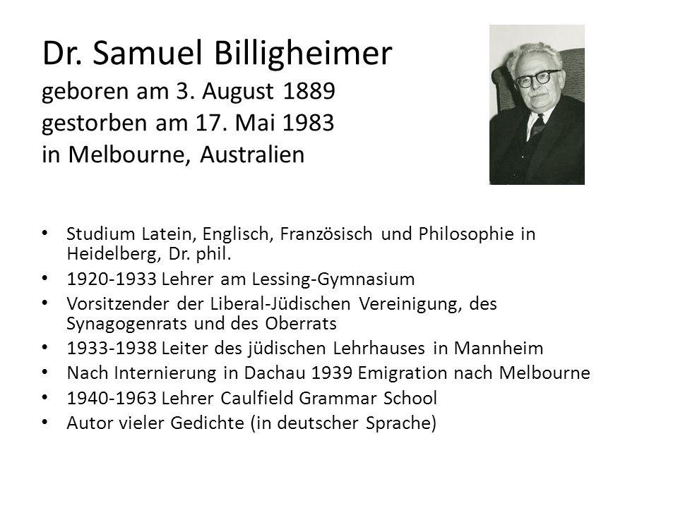 Dr. Samuel Billigheimer geboren am 3. August 1889 gestorben am 17