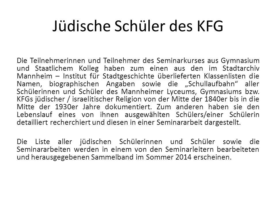 Jüdische Schüler des KFG