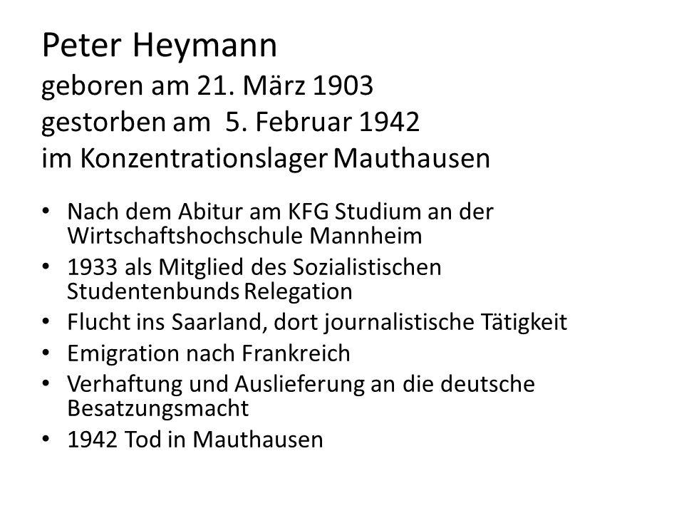 Peter Heymann geboren am 21. März 1903 gestorben am 5
