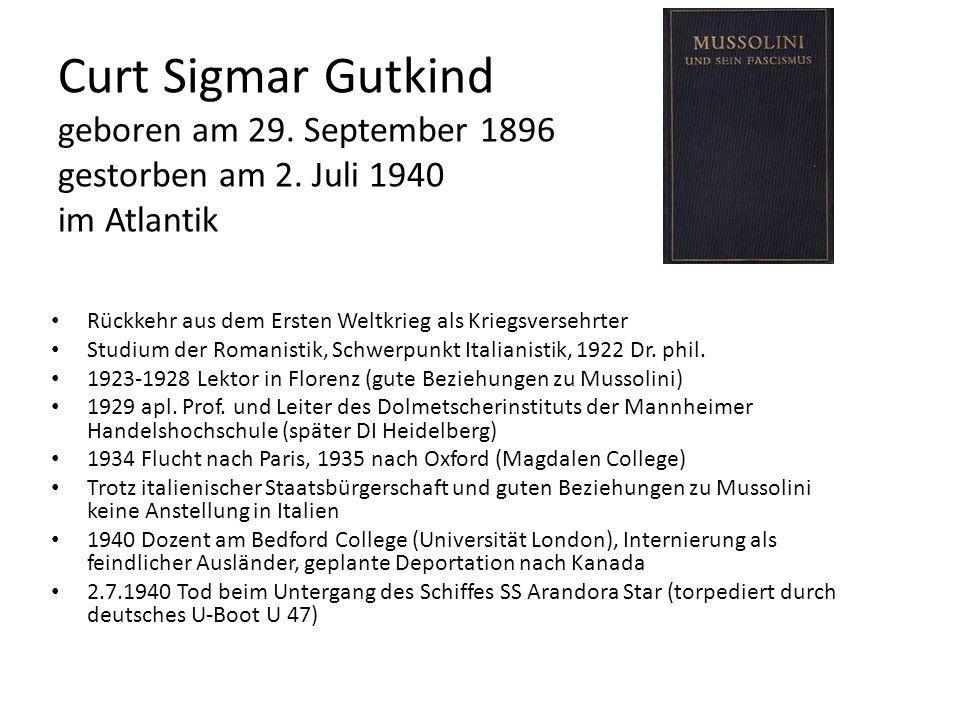 Curt Sigmar Gutkind geboren am 29. September 1896 gestorben am 2