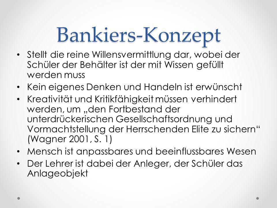 Bankiers-KonzeptStellt die reine Willensvermittlung dar, wobei der Schüler der Behälter ist der mit Wissen gefüllt werden muss.