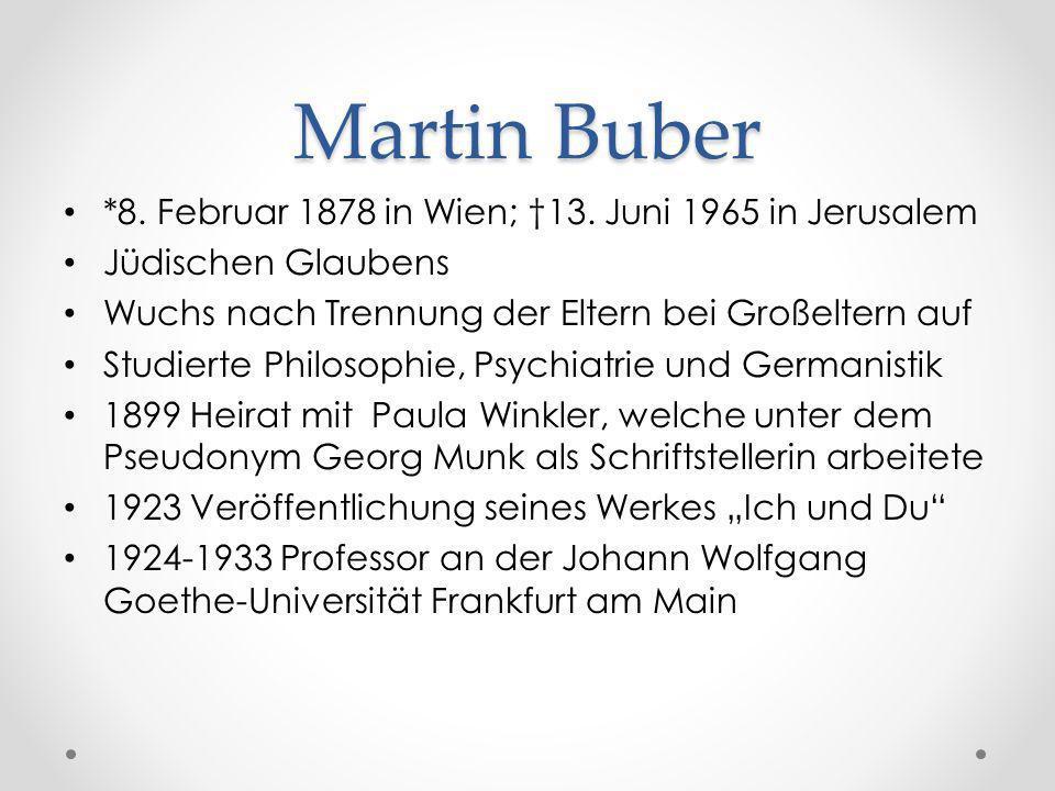 Martin Buber *8. Februar 1878 in Wien; †13. Juni 1965 in Jerusalem