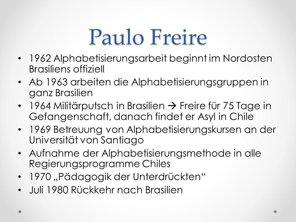 Paulo Freire1962 Alphabetisierungsarbeit beginnt im Nordosten Brasiliens offiziell. Ab 1963 arbeiten die Alphabetisierungsgruppen in ganz Brasilien.