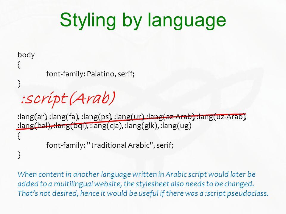 Styling by language :script(Arab)