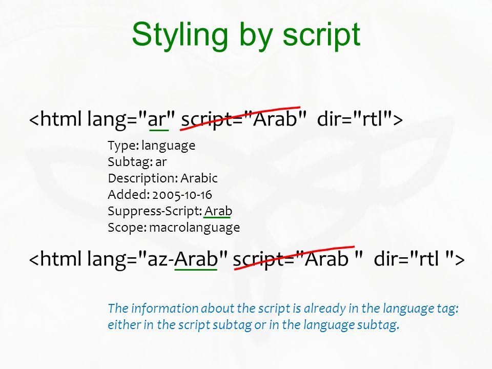 Styling by script <html lang= ar script= Arab dir= rtl >