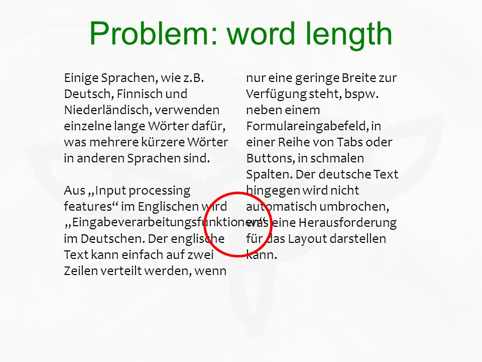 Problem: word length