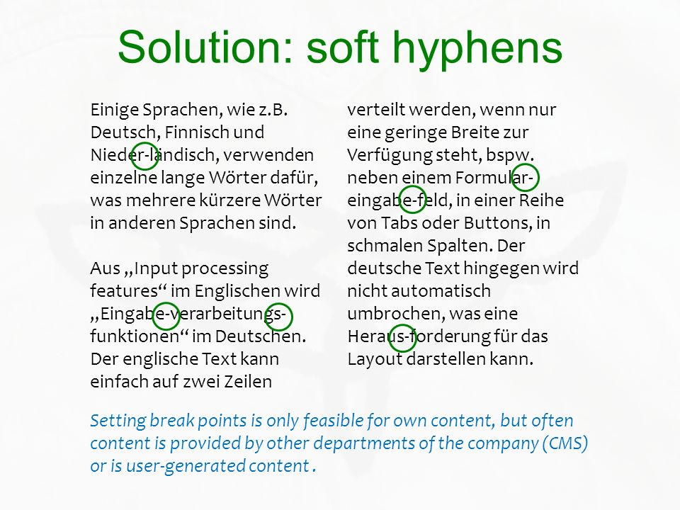 Solution: soft hyphens