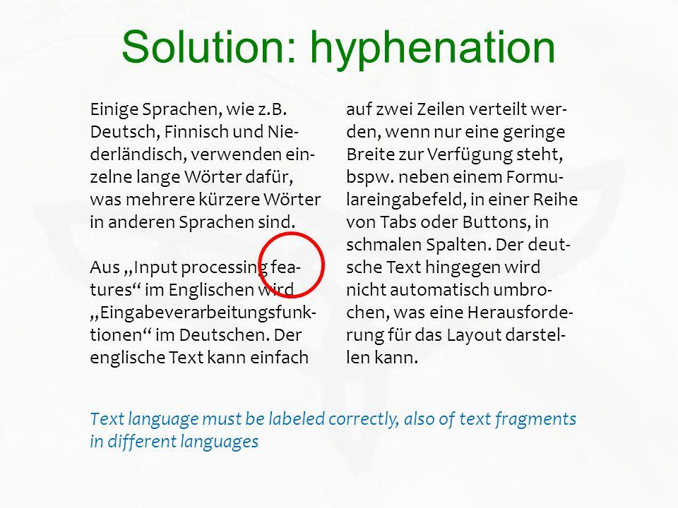 Solution: hyphenation