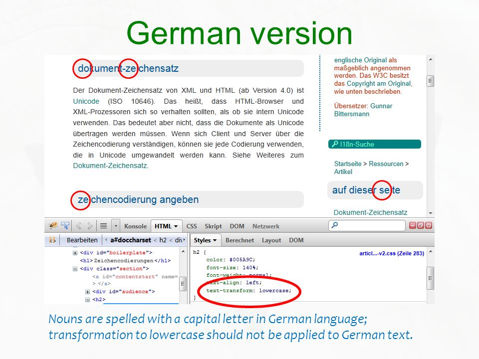 German versionNouns are spelled with a capital letter in German language; transformation to lowercase should not be applied to German text.