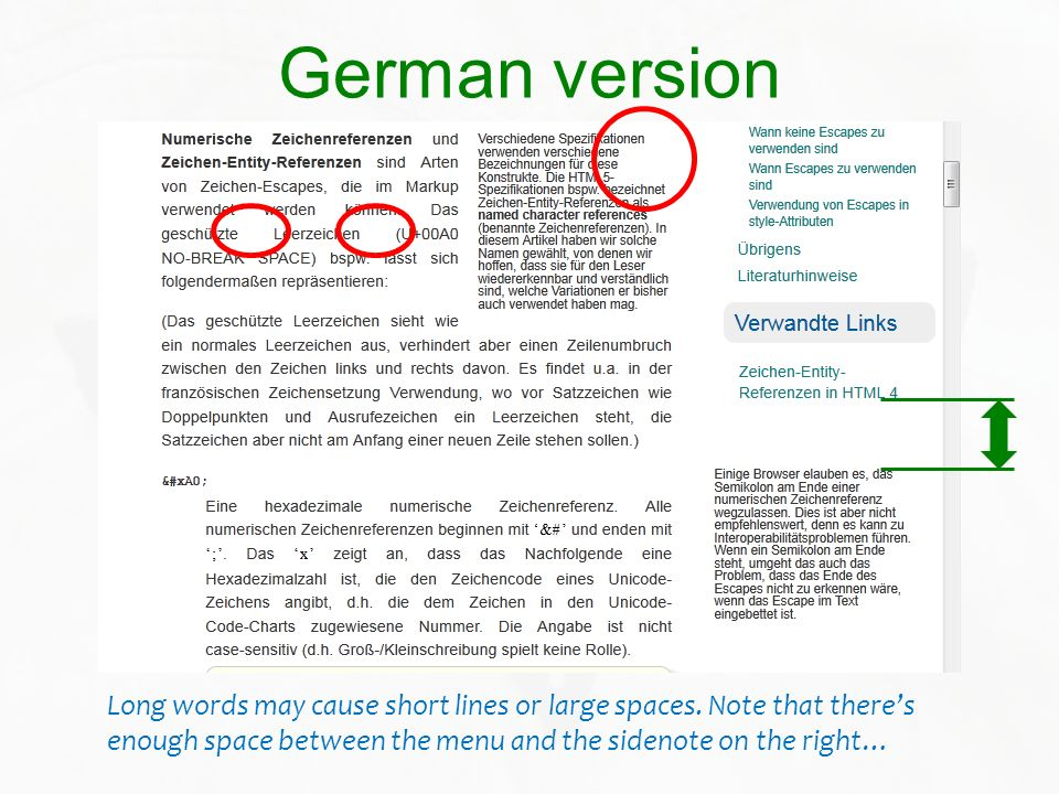 German versionLong words may cause short lines or large spaces.