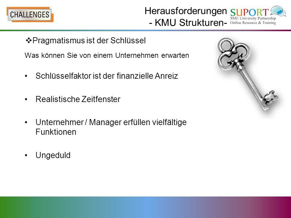 Herausforderungen - KMU Strukturen-