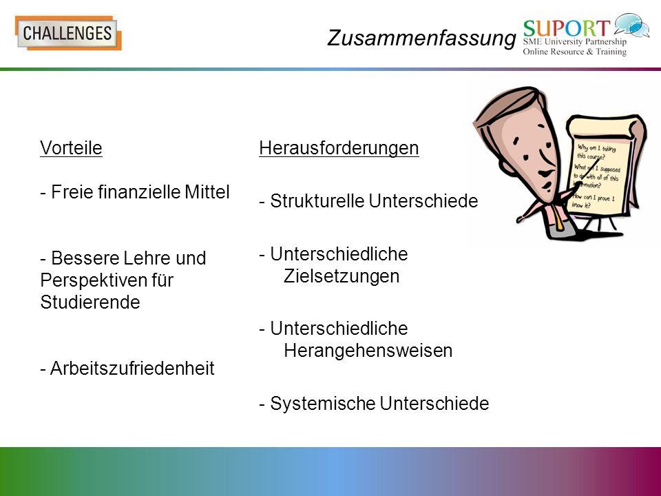 Zusammenfassung Vorteile - Freie finanzielle Mittel