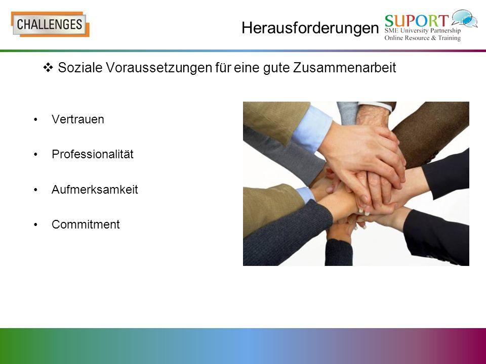 Herausforderungen Soziale Voraussetzungen für eine gute Zusammenarbeit