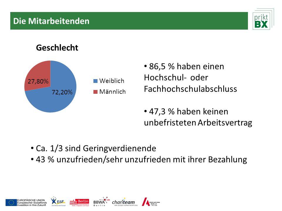 Die Mitarbeitenden 86,5 % haben einen Hochschul- oder Fachhochschulabschluss. 47,3 % haben keinen unbefristeten Arbeitsvertrag.